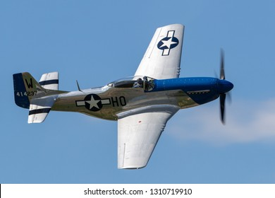 Payerne, Switzerland - August 30, 2014: 1944 North American P-51D Mustang fighter aircraft Moonbeam McSwine F-AZXS.