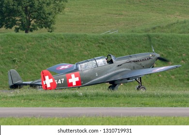 Payerne, Switzerland - August 30, 2014: Former Swiss Air Force EKW C-36 multipurpose aircraft built in the 1930's and 1940's.