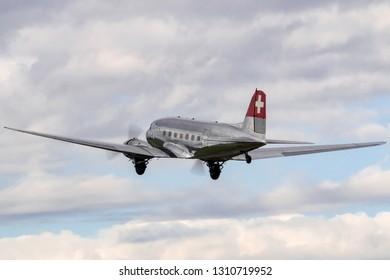 Payerne, Switzerland - August 30, 2014: Douglas DC-3C vintage airliner N431HM.