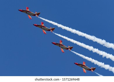 Payerne, Switzerland - August 30, 2014: Spanish Air Force (Ejercito del Aire) CASA C-101EB Aviojet jet trainer aircraft of the Patrulla Aguila formation aerobatic display team.