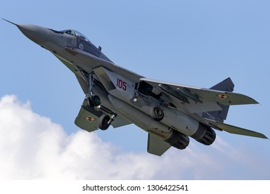 Payerne, Switzerland - August 31, 2014: Polish Air Force (Sily Powietrzne) Mikoyan-Gurevich MiG-29A fighter aircraft.