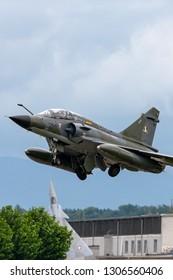 Payerne, Switzerland - August 31, 2014: French Air Force (Armee De L'Air) Dassault Mirage 2000N multirole fighter aircraft.