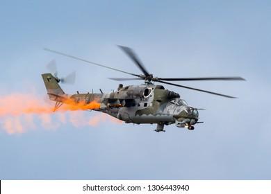 Payerne, Switzerland - September 1, 2014: Czech Air Force (Vzdušné síly Armády České republiky) Mil Mi-24V Attack Helicopter.