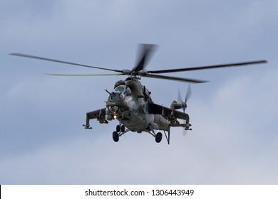 Payerne, Switzerland - September 1, 2014: Czech Air Force Mil Mi-24V Attack Helicopter.