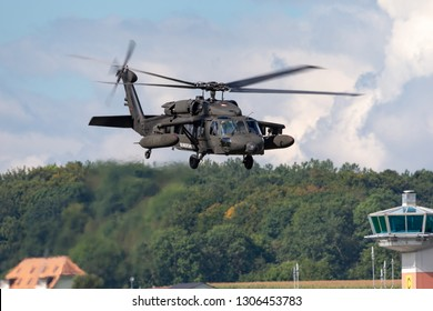 Payerne, Switzerland - September 1, 2014: Austrian Armed Forces (Austrian Army) Sikorsky S-70A-42 Blackhawk military helicopter 6M-BG.
