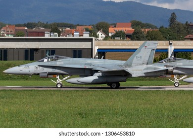 Payerne, Switzerland - September 1, 2014: Royal Canadian Air Force (RCAF) McDonnell Douglas CF-188A (F/A-18 Hornet) fighter aircraft.