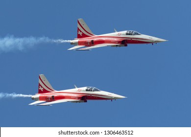 Payerne, Switzerland - September 1, 2014: Patrouille Suisse formation display team of the Swiss Air Force flying Northrop F-5E fighter aircraft.