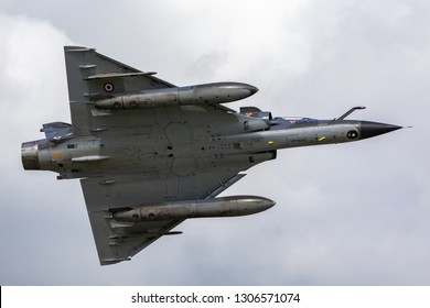 Payerne, Switzerland - September 1, 2014: French Air Force (Armee De L'Air) Dassault Mirage 2000N multirole fighter aircraft.