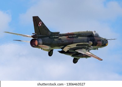 Payerne, Switzerland - September 2, 2014: Polish Air Force (Sily Powietrzne) Sukhoi Su-22M4 (Sukhoi Su-17) fighter/attack aircraft.