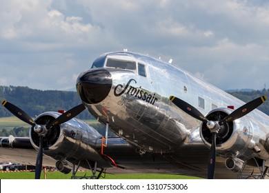 Payerne, Switzerland - September 2, 2014: Douglas DC-3C vintage airliner N431HM.