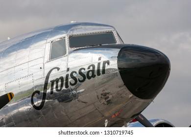 Payerne, Switzerland - September 3, 2014: Douglas DC-3C vintage airliner N431HM.