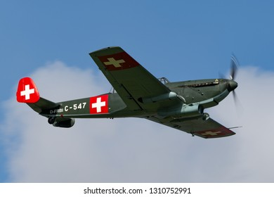 Payerne, Switzerland - September 3, 2014: Former Swiss Air Force EKW C-36 multipurpose aircraft built in the 1930's and 1940's.