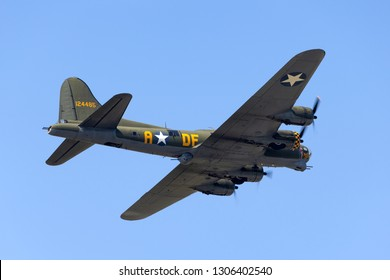 "Payerne, Switzerland - September 4, 2014: World War II era Boeing B-17 Flying Fortress bomber aircraft ""Sally B"" (G-BEDF)."