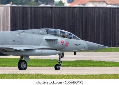 Payerne, Switzerland - September 4, 2014: Former Swiss Air Force Dassault Mirage III fighter aircraft J-2012 (HB-RDF).