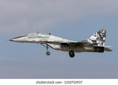 Payerne, Switzerland - September 4, 2014: Slovak Air Force Mikoyan-Gurevich MiG-29UB aircraft.