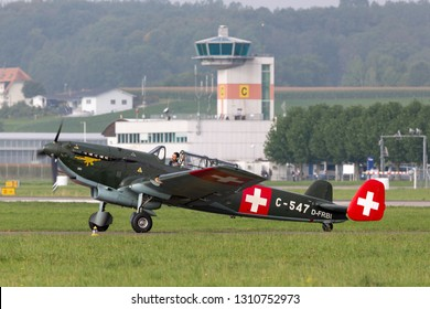 Payerne, Switzerland - September 4, 2014: Former Swiss Air Force EKW C-36 multipurpose aircraft built in the 1930's and 1940's.