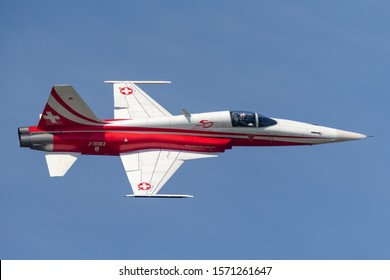 Payerne, Switzerland - September 4, 2014: Northrop F-5E fighter aircraft from the Swiss Air Force formation display team Patrouille Suisse.