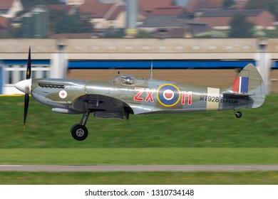 Payerne, Switzerland - September 5, 2014: Supermarine Spitfire Mk.8 World War II fighter aircraft D-FEUR.