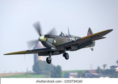 Payerne, Switzerland - September 5, 2014: Supermarine Spitfire Mk16e World War II fighter aircraft G-MXVI.