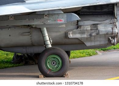 Payerne, Switzerland - September 5, 2014: Landing gear of Slovak Air Force Mikoyan-Gurevich MiG-29UB aircraft.