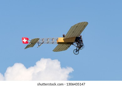 Payerne, Switzerland - September 6, 2014: Vintage Bleriot XI aircraft owned and operated by Mikael Carlson.