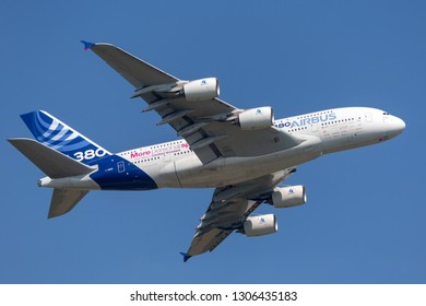 Payerne, Switzerland - September 6, 2014: Airbus A380-841 large four engined commercial airliner aircraft F-WWDD.
