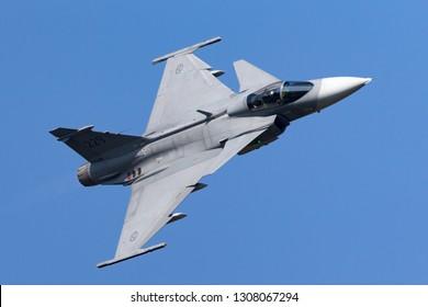 Payerne, Switzerland - September 6, 2014: Swedish Air Force Saab JAS-39C Gripen multirole fighter aircraft.