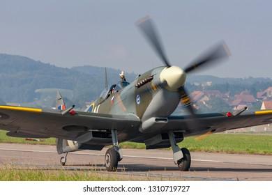 Payerne, Switzerland - September 6, 2014: Supermarine Spitfire Mk16e World War II fighter aircraft G-MXVI.