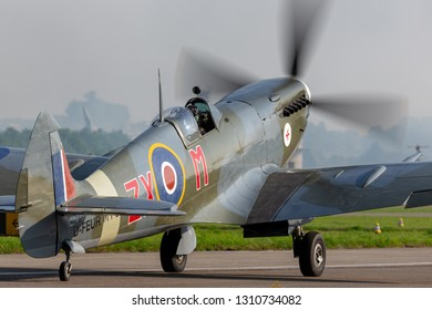 Payerne, Switzerland - September 6, 2014: Supermarine Spitfire Mk.8 World War II fighter aircraft D-FEUR.
