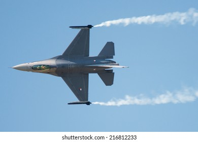 PAYERNE, SWITZERLAND - SEPTEMBER 6: Flight of F-16 Falcon of Royal Netherlands Air Force on AIR14 airshow in Payerne, Switzerland on September 6, 2014