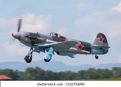 Payerne, Switzerland - September 7, 2014: Yakovlev Yak-3M World War II fighter aircraft D-FYGJ.