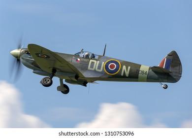 Payerne, Switzerland - September 7, 2014: Supermarine Spitfire Mk16e World War II fighter aircraft G-MXVI.