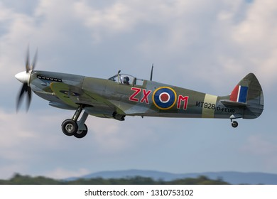 Payerne, Switzerland - September 7, 2014: Supermarine Spitfire Mk.8 World War II fighter aircraft D-FEUR.