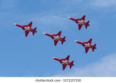 Payerne, Switzerland - September 7, 2014: Patrouille Suisse formation display team of the Swiss Air Force flying Northrop F-5E fighter aircraft.