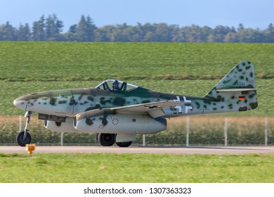 Payerne, Switzerland - September 8, 2014: Messerschmitt Me 262 Luftwaffe World War II jet fighter aircraft.