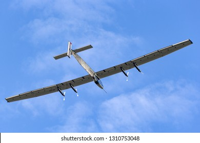 Payerne, Switzerland - September 8, 2014: Solar Impulse 2 is a Swiss developed long range experimental solar powered aircraft with the registration HB-SIB.