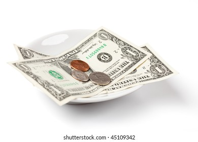 paying by money on plate