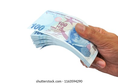 Paying money. Turkish Lira - TRY  or  TL on white background.