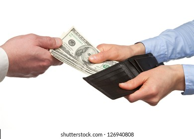 Paying money from a wallet - closeup shot of hands