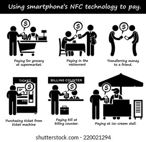 Paying with Phone NFC Technology Stick Figure Pictogram Icons
