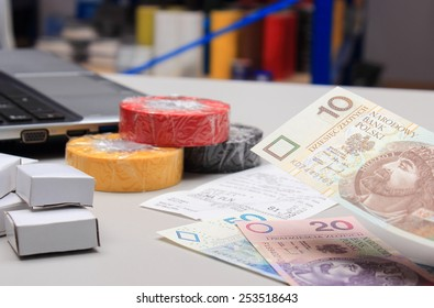 Paying for shopping in an electrical shop, finance concept