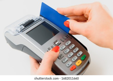 paying through smartphone using NFC technology. payment by phone through the terminal