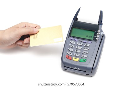 Payment by Credit Card Machine on white background.