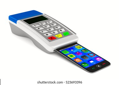 Payment by phone on white background. Isolated 3D image.