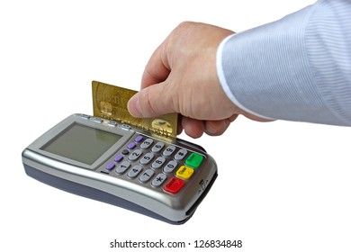 Payment for the goods by credit card through the payment terminal