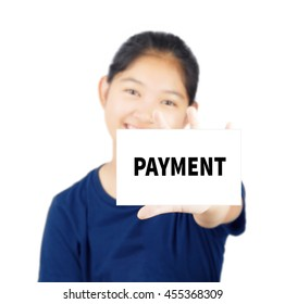 Payment message on white card concept with young woman smile
