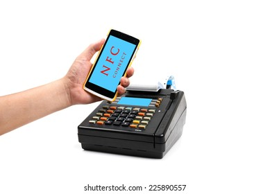 payment with a mobile phone by NFC Technology isolated on white.
