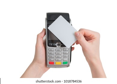 payment with NFC tecnology credit card on pos terminal in woman hands isolated on a white background
