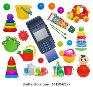 Payment for the purchase of toys by credit card with a modern blue payment terminal.