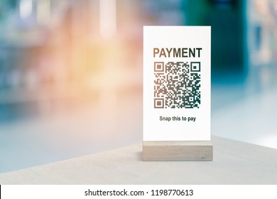 Payment QR code for Moblie wallet phone or smartphone scanning,online shopping,cashless society technology of Smart shop accept digital pay bitcoins no money, internet of things,tent mock up table